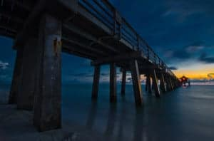 Organic HDR photo of a pier at night in naples, florida