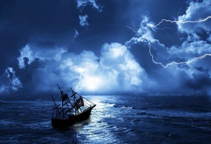 A ship sailing into a lightning storm