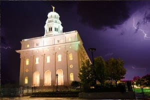Nauvoo Temple With Lightning at Night