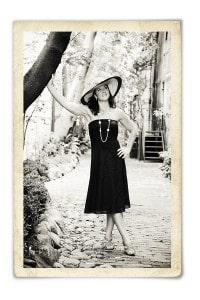 Portrait photography model in large brimmed hat