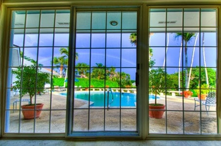 Rainbow as seen from inside a house in Florida.