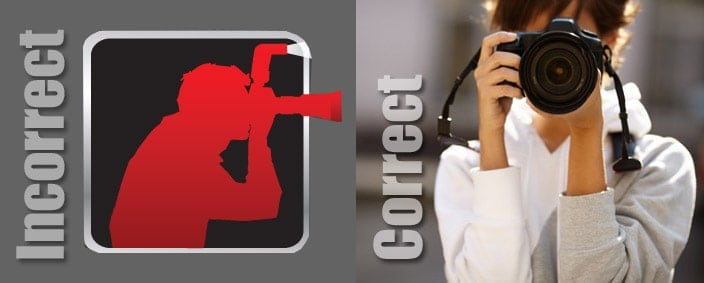 The Improve Photography logo placed next to a woman holding a DSLR the best way.