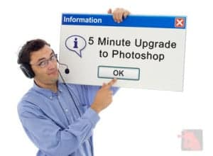 Customer support guy with a windows sign saying that you should upgrade Photoshop