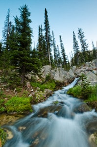 Long exposure photograph of a mountain stream