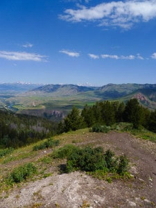 Wide vista on a mountain ridge in wyoming