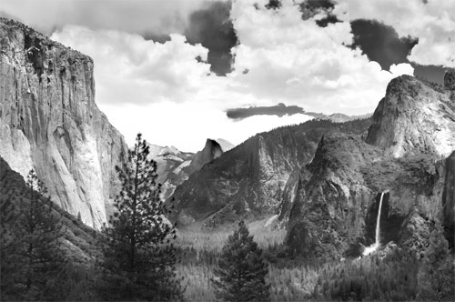 This photo is taken by a contemporary photographer in a location where one of ansel adams most famous photos was taken in yosemite