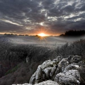 Landscape photography of a sunrise over the mountain