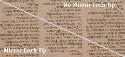 Mirror lock-up sharpness test