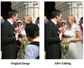 Before and after editing of a wedding photograph
