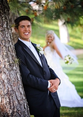 Groom looking at camera for a wedding photo
