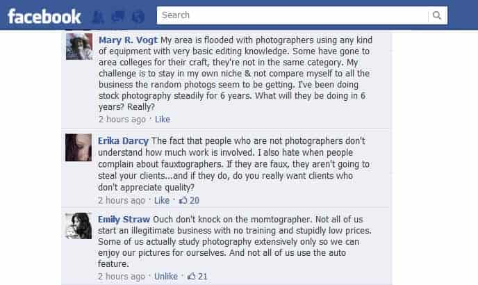 Debate about momtographers the Improve Photography Facebook page