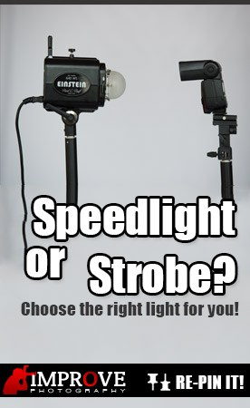 Speedlight and a strobe next to each other in a photography studio