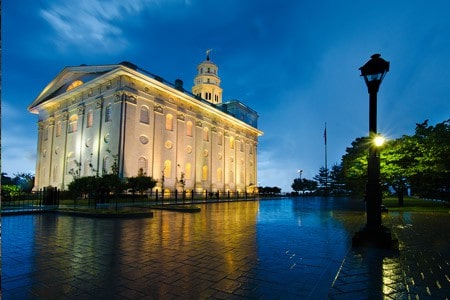 Reflections on the ground of the LDS temple in Nauvoo Illinois after a rain storm.
