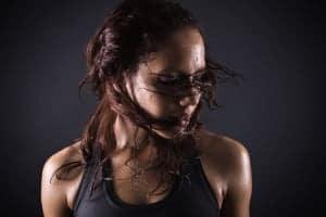 Wet hair on a model.