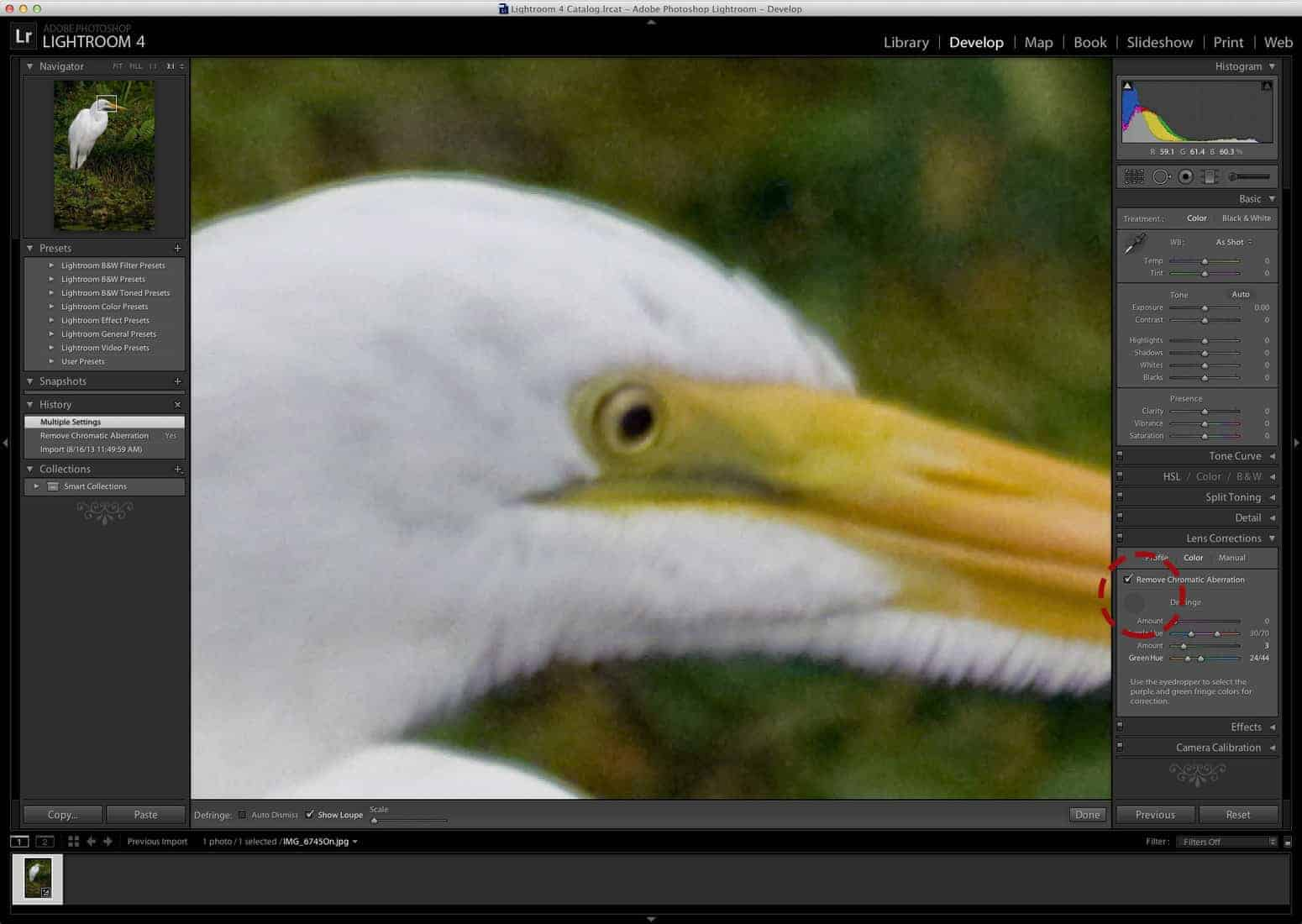 How to fix chromatic aberration in Lightroom