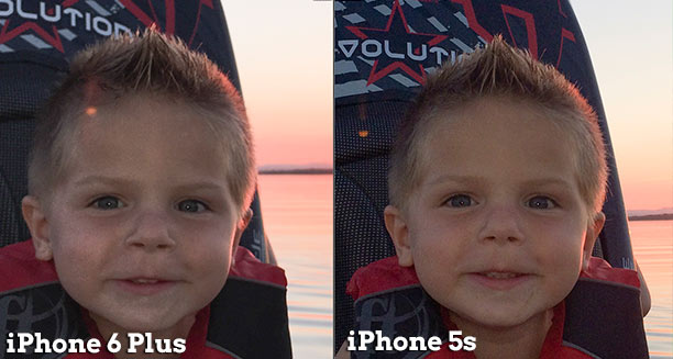 Can you see the blotchiness on the left cheek in the iPhone 6 Plus photo?  It is caused because the lack of contrast makes for a very fine gradient.  Since it's a small compressed JPG that comes out of the phone, the result is a blotchy skin tone.