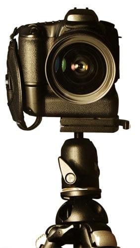 Camera on a tripod and ballhead