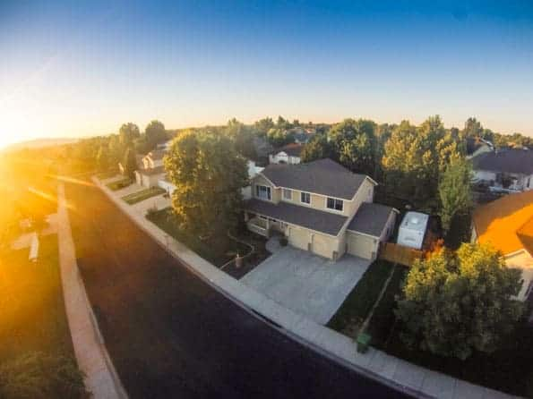 Aerial photo of Idaho home at sunrise