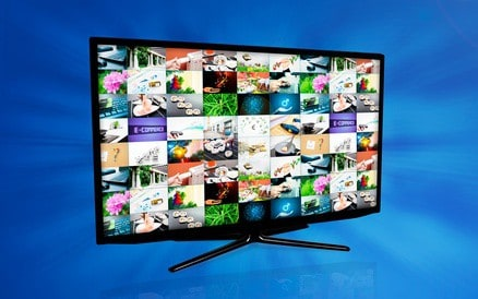 Widescreen high definition TV screen with video gallery. Television and internet concept on blue background