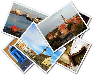 A collage of Tallinn Estonian photos on the white background