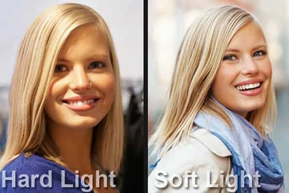 Example of hard light and soft light.