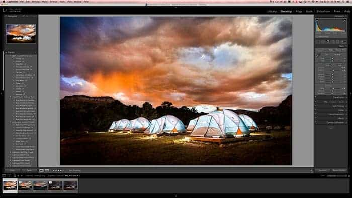 A photo opened to the develop module in Lightroom.  This is where most of the edits are made.