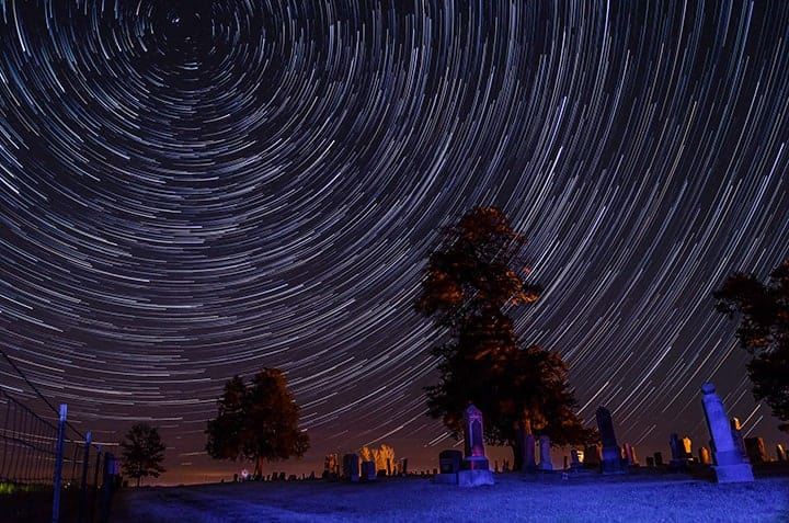Cemetery star trails photo by Rusty Parkjust
