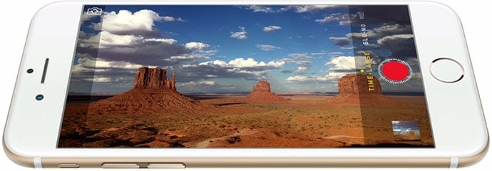 Apple's official photo showing off the new timelapse mode in iOS 8.  As is true with many others, this is a feature that owners of older iPhone models will also get with iOS 8.  The used an excellent example of the clouds above the red rock for showing off the time lapse mode.