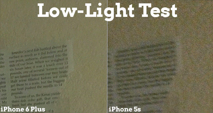 Notice two things. First, you'll see the reduced noise in the iPhone 6 Plus photo. Second, remember that high ISOs often reduce sharpness, and you can see that here. The text in the newspaper article and the texture on the wall is indiscernible in the 5s shot.