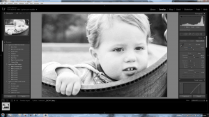 Screenshot Lightroom 5 Develop Noah on swing b+w