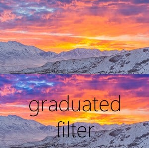 In the bottom shot the graduated filter darkens the sky