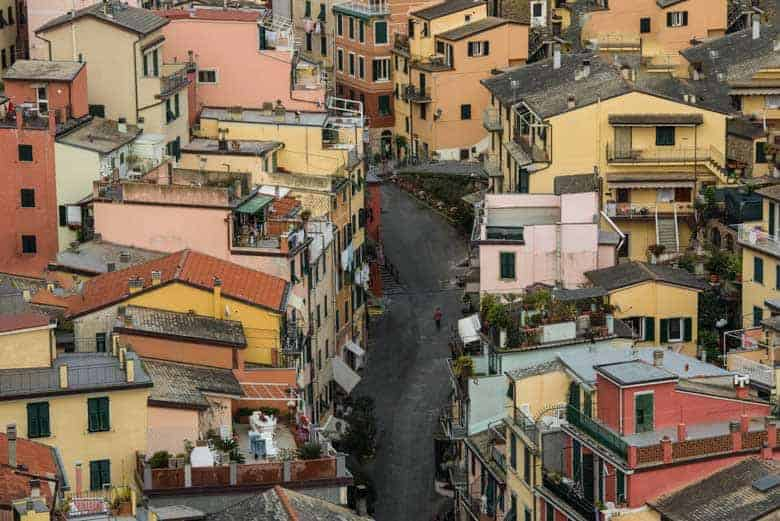 Riomaggiore, Cinque Terre, Italy - View from on top of the castle overlooking the city. Photo by the author (Jim Harmer)