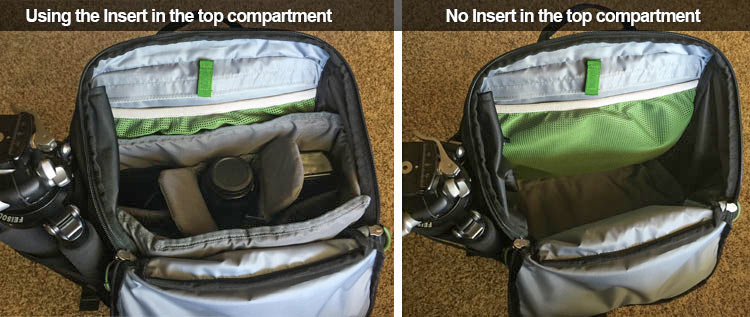 The third-party insert I recommend makes a big difference in the bag. It fits WAY more gear and is easily removable for when you want the open pocket for clothes or a lunch on a day hike.