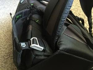 "The ingenious magnetized ""lock"" on the side of the bag that you can reach back to and easily dis-latch to rotate the belt pack around."