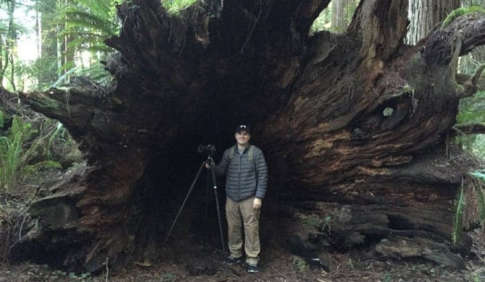 Same tripod, but now shooting in the Redwoods.  Some people pose in pictures with their spouse, but I pose with my Feisol (don't tell Emily).