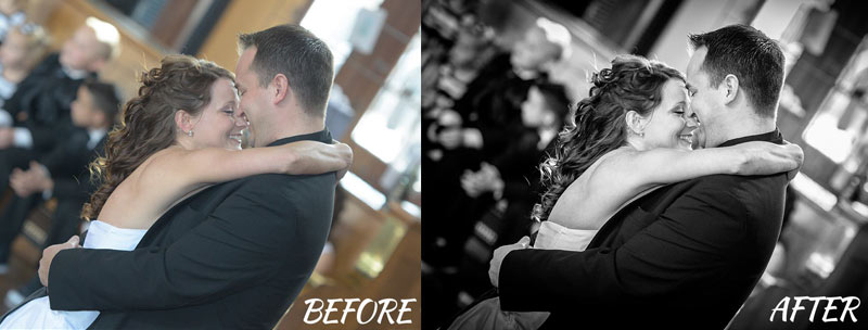 """On the """"before"""" photo on the left, you see what a photo looks like straight out of the camera. On the right, I show the same photo after applying one of my ONE CLICK Lightroom presets. You'll get some of my favorite portrait presets along with the Lightroom and photography video trainings."""