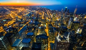 Capturing the skyline from an unusually high angle provides a more interesting look than from down in the streets.