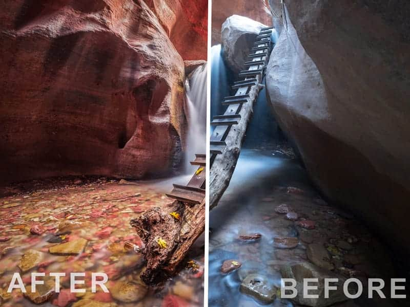 "The right side shows the ""before"" image straight out of the camera. The left shows the ""after"" applying one of my Lightroom presets to the photo. A one-click preset in Lightroom can make a HUGE difference on red rock!"