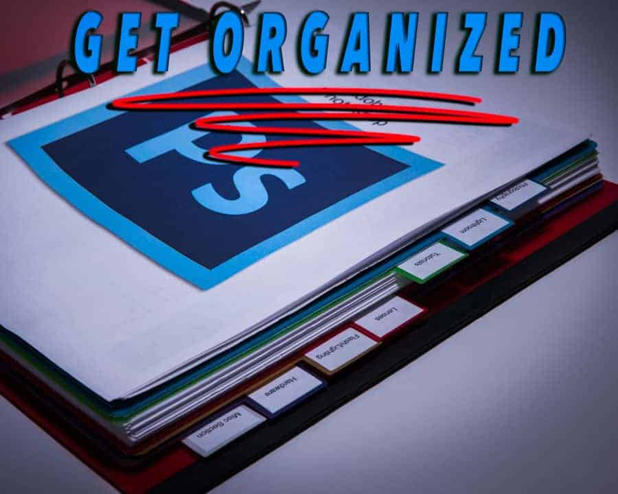A 3 ring binder can help you keep everything organized from reciepts to shortcut cheat sheets.