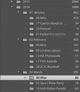a date-based folder structure in Lightroom