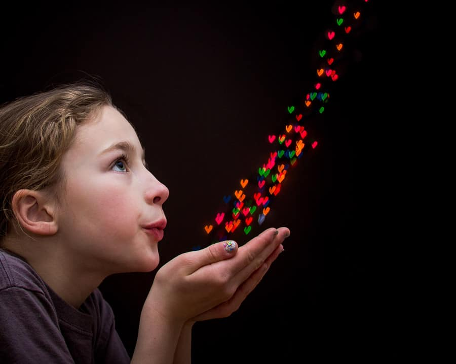 Try this fun light shaped bokeh background.