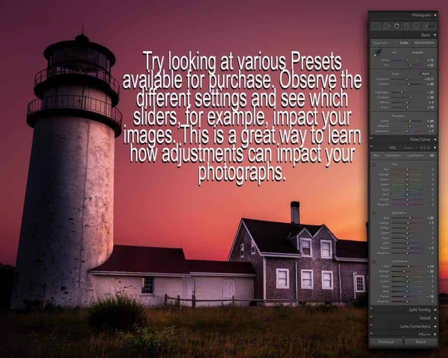 Simply viewing preset sliders can give you a better idea how adjustments work in Lightroom.