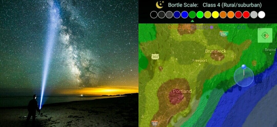 Light pollution overlay (right) showing the location and Bortle rating of the photo on the left.