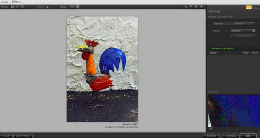 Nik Dfine 2.0 sampling the original rooster photo for noise and applying noise reduction.