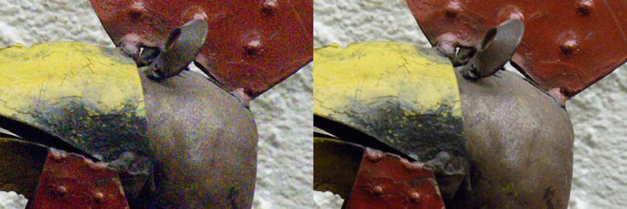 Original photo (left) and after using image stacking in Photoshop (right).