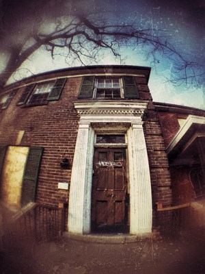 Some grungy, urbex, fisheye fun. Taken with iPhone 4s and a cheap magnetic fisheye lens, edited in Snapseed app. Photo by Tracy Munson