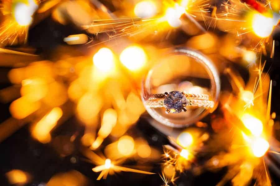 Ring shots: A photo of rings surrounded by lit sparklers.
