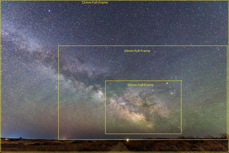 Field of view associated with common full-frame focal lengths (© Kevin D. Jordan Photography)