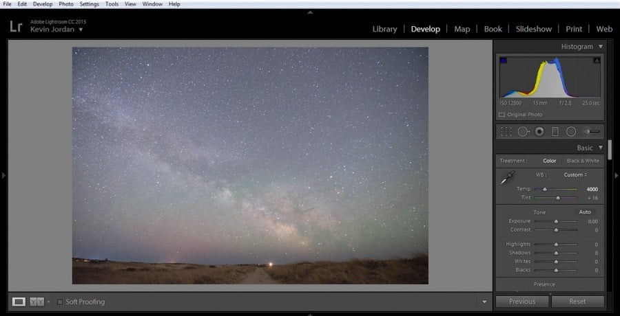 An unedited RAW file with a neutral exposure (note histogram on the upper right)