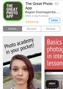 The Great Photography App is a pocket sized course on the basics of photography.